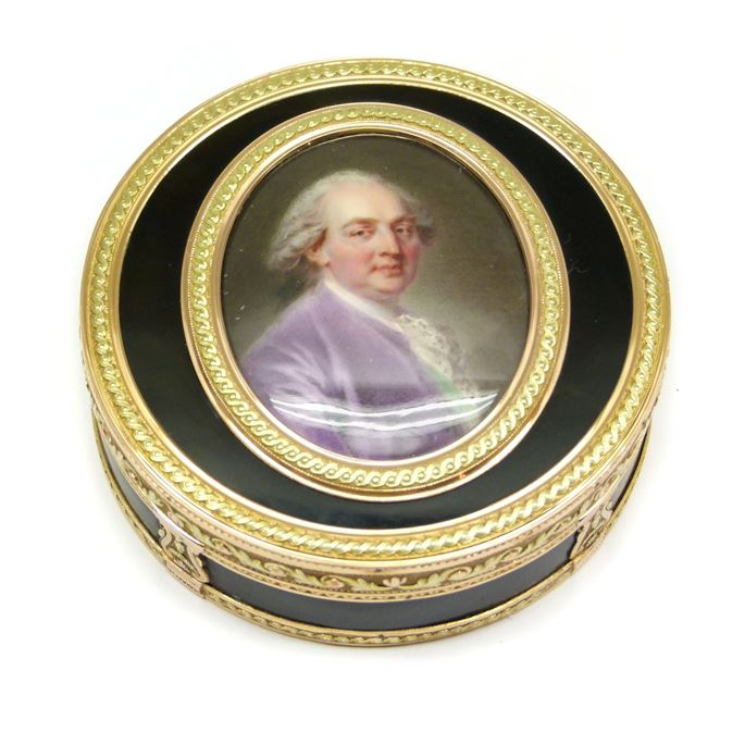 Louis XVI vari-coloured gold mounted tortoiseshell and portrait miniature box | MasterArt